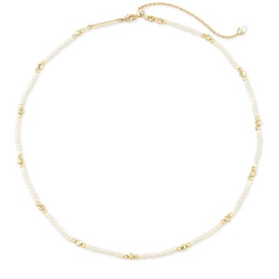 Scarlet Choker Necklace Gold White Pearl