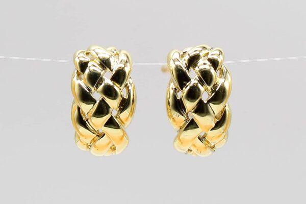 14 Karat Yellow Gold Braided Estate Earrings
