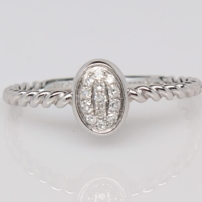 14K White Gold Diamond Cluster Twist Ring