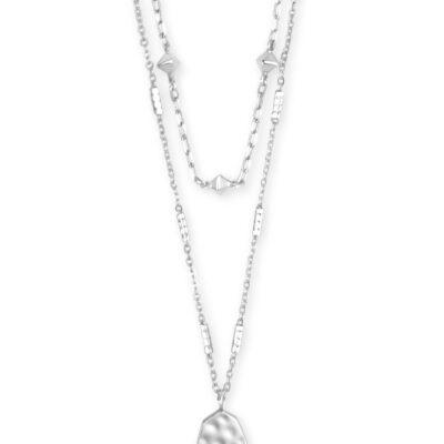Clove Multi Strand Rhodium Necklace