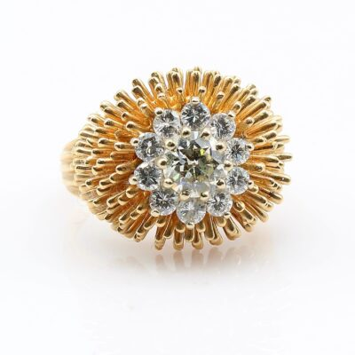 14k Yellow Gold European Cut Diamond Fashion Ring