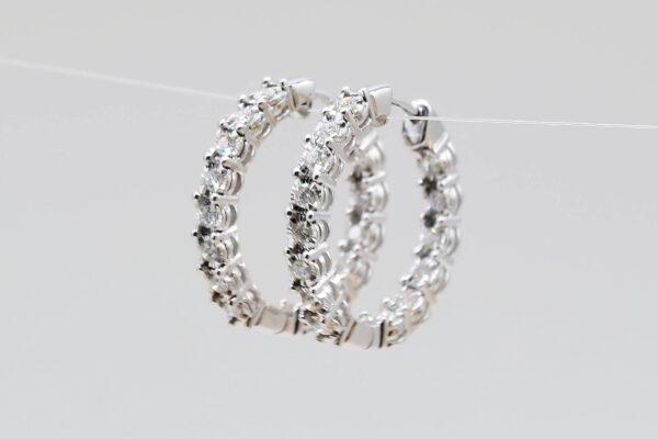14 Karat White Gold .75ctw Diamond Hoop Earrings