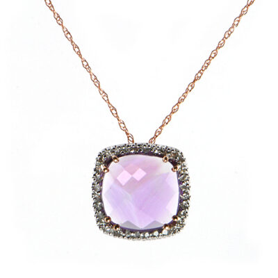 14K Rose Gold 2.04 ct Amethyst & .12ct Diamond Pendant