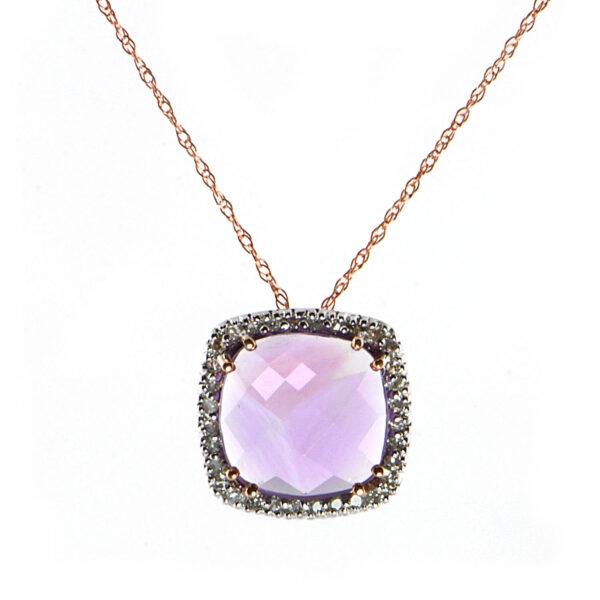 14K Rose Gold 2.04 ct Amethyst & .12ct Diamond Pendant