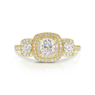 14KY Diamond Halo Engagement Ring 0.91ctw