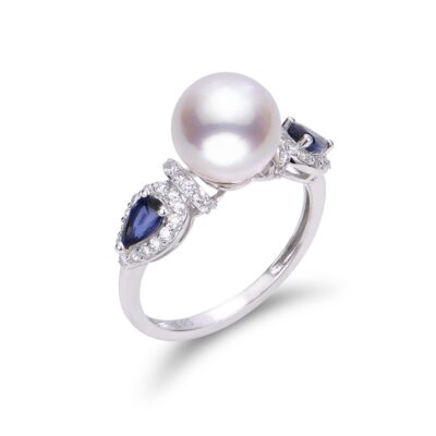 Akoya Pearl and Blue Sapphire Ring in 14K White Gold