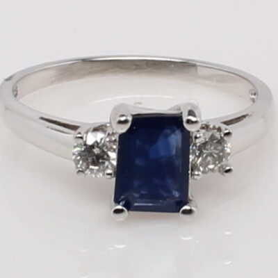 10 Karat White Gold Emerald Cut Sapphire and Diamond Ring