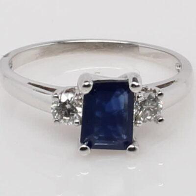 10 Karat White Gold Emerald Cut Sapphire and Diamond Ring