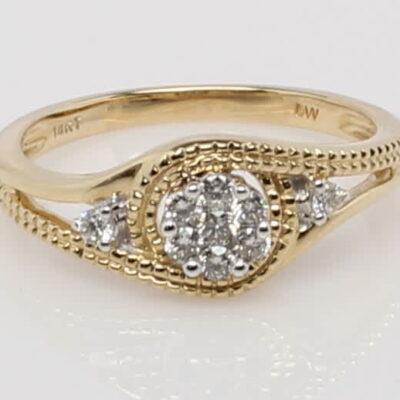 14 Karat Yellow Gold Diamond Cluster Ring