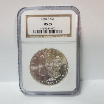 1881 S Morgan Silver Dollar NGC MS 65