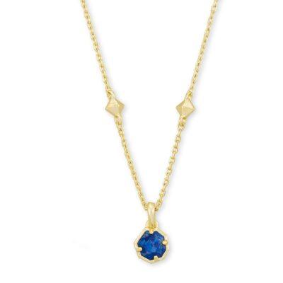 Nola Short Pendant Necklace Gold Cobalt Howlite