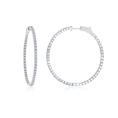 14 Karat White Gold .50ctw Diamond Hoop Earrings