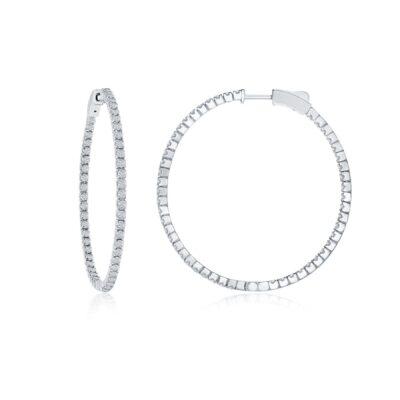 14 Karat White Gold .50ctw Diamond Hoop Earrings