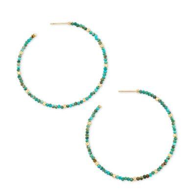 Scarlet Hoop Earring Gold Turquoise