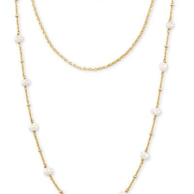 Scarlet Multi Strand Nck Gold White Pearl