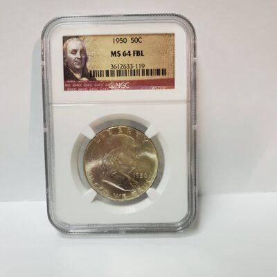 1950 Franklin Half Dollar NGC MS 64 FBL