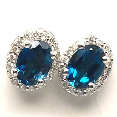 14 Karat White Gold Blue Topaz and Diamond Ear Studs