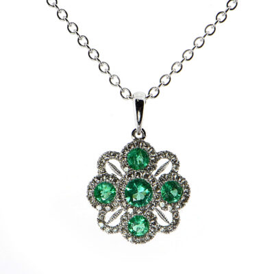 14K White Gold .55tcw Emerald & .33tcw Diamond Pendant