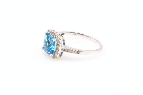 14KW 1.60ct Blue Topaz Ring with Diamond Accents 0.19ctw
