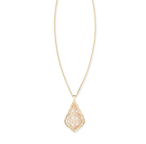 Aiden Gold Metal and Rose Necklace