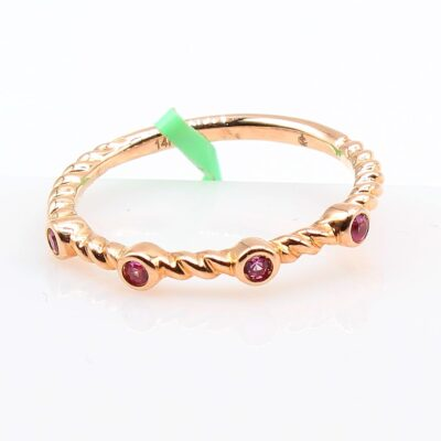 14K Rose Gold Band with .09ctw Pink Sapphires