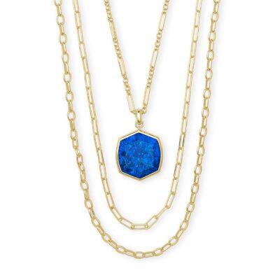Davis Multi Strand Necklace Gold Cobalt Howlite