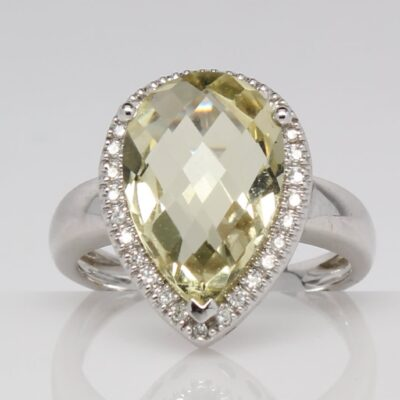 14K Lemon Quartz and Diamond Fashion Ring