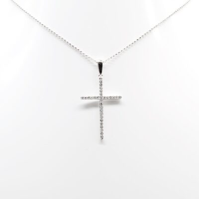 14K White Gold and Diamonds Cross Necklace