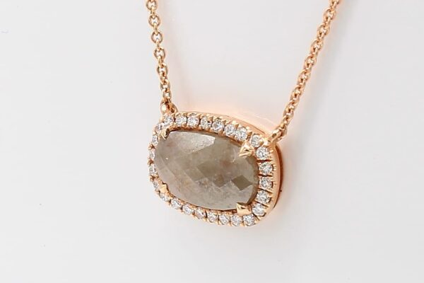 14K Rose Gold Necklace with 1.43 Rough Diamond and White Diamond Halo