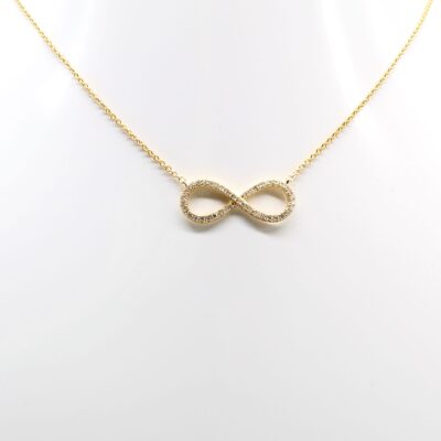 14K Yellow Gold Diamond Infinity Necklace