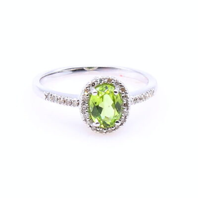 14KW Oval Peridot .76ct Diamond Accent Ring