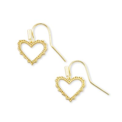 Sophee Gold Metal Heart Drop Earrings