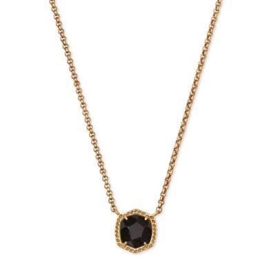 Davie Short Pendant Necklace Vintage Gold Golden Obsidian
