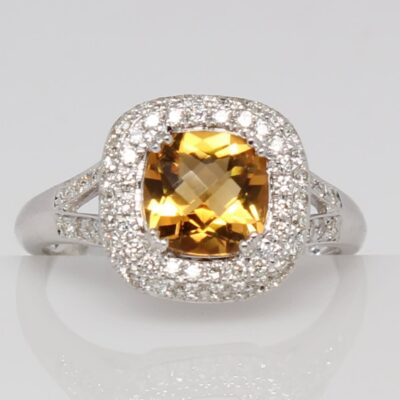 14K Citrine and Diamond Split Shank Ring