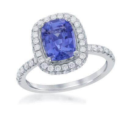 18 Karat White Gold Sapphire and Diamond Halo Ring