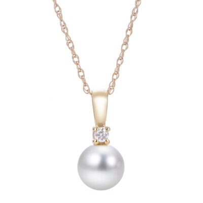 Pearl and Diamond Necklace with 14K Gold Chainv