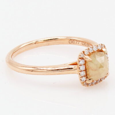 14K Rose Gold .77CT Rough Diamond Ring with White Diamond Halo
