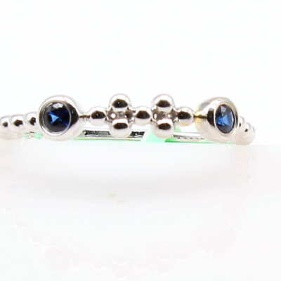 14K White Gold Band with .12ctw Blue Sapphires