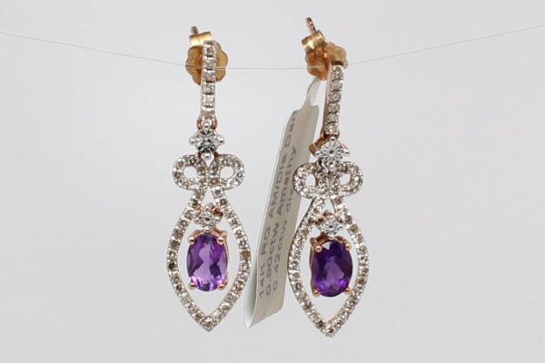 14 Karat Rose Gold Amethyst and Diamond Earrings
