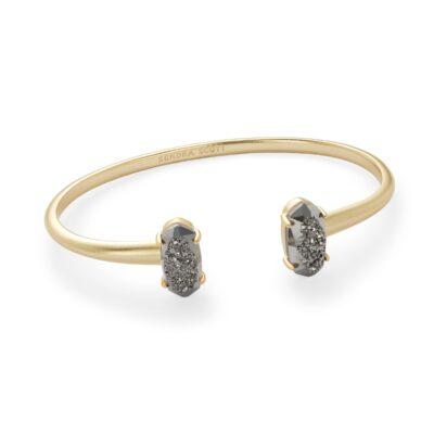 Edie Gold Metal Platinum Drusy Bracelet