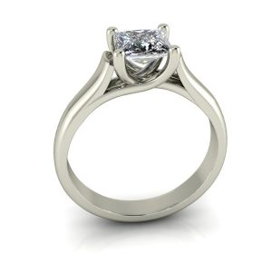 Square Woven Princess Solitaire Engagement Ring