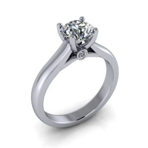Round Solitaire Engagement Ring with Diamond Accents