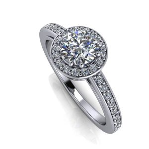 Round Cut Halo Channel Accented Engagement Ring