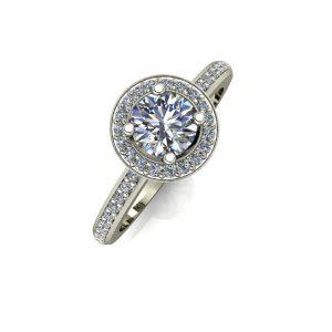 Round Cut Diamond Halo Engagement Ring