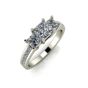 Three Stone Princess Cut Channeled Accents Engagement Ring