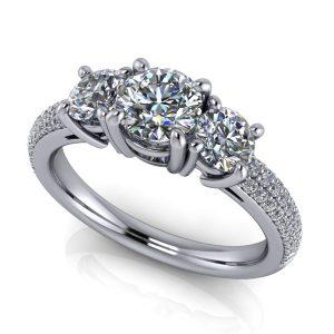 Round Three-Stone Pavé Engagement Ring