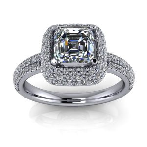 Asscher Cut Blooming Halo Accented Engagement Ring