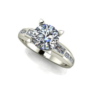 Diamond Baguette Accented Engagement Ring