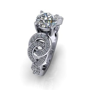 Round Cut Flowing Shank Engagement Ring