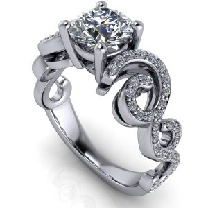 Round Cut Flowing Accent Shank Engagement Ring